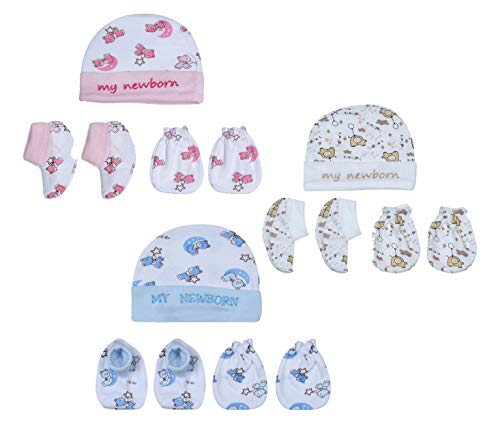 MY NEWBORN Unisex Baby Mitten Booty and Cap Set (Multicolour) - Pack of 3