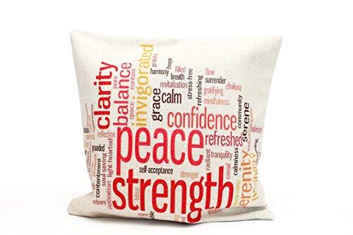 Almohada Wilma 40x 40cm sofá decoración Wellness Funda de cojín Peace Clarity Strength Balance Aspecto de Lino Almohada Letras Decoración Almohada