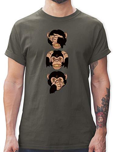 Sprüche Statement mit Spruch - DREI Affen - Sanzaru - XL - Dunkelgrau - 3D affen Tshirt - L190 - Tshirt Herren und Männer T-Shirts
