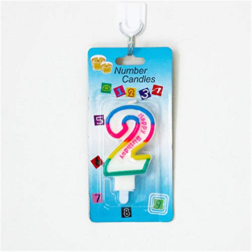 Geburtstagskerze mit buntem Rand, 0–9, Kuchendekoration, Geburtstagsparty-Zubehör (nur Kerzen)