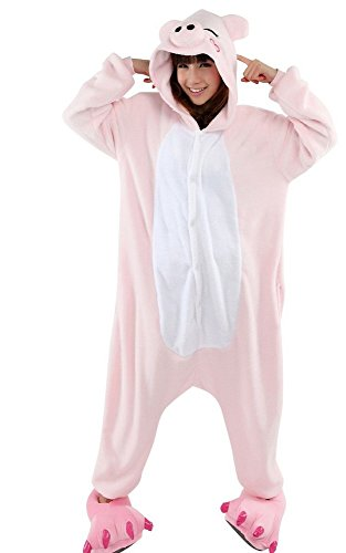 Emmarcon - Disfraz de carnaval halloween pijama cálido de animales kigurumi cosplay zoológico onesies L/altezza 170-179cm,max 100kg Maialino rosa