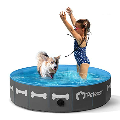 Peteast Foldable Dog Swimming Pool, 32'' / 64'' Portable Dog Pet Bath Pool, PVC Plastic Anti-Slip Collapsible Kiddie Pool Dog Pet Bathing Tub for Dogs Cats and Kids