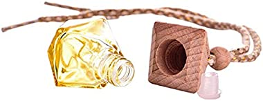 6ml Random Color Perfume Bottle Jars with Wood Lid for Car Hanging Air Freshener Perfume Fragrance Glass Empty Glass Bottle (