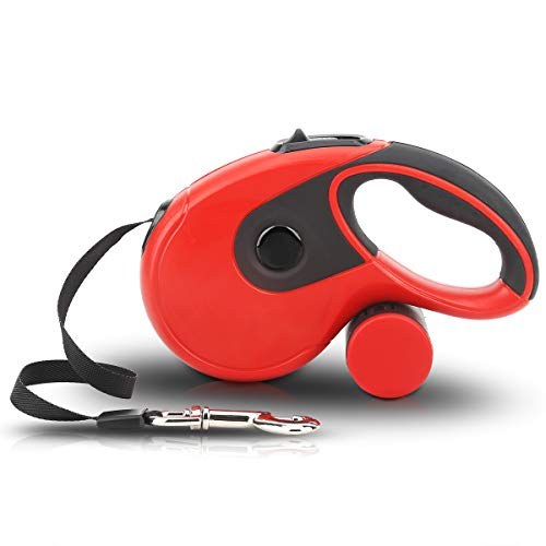 Retractable Dog Leash, 360°Tangle Free Strong Nylon Ribbon Extends 16ft - Heavy Duty Pet Walking Leash with Free Waste Bag Dispenser and Bags for Small Medium and Large Dogs (Red)