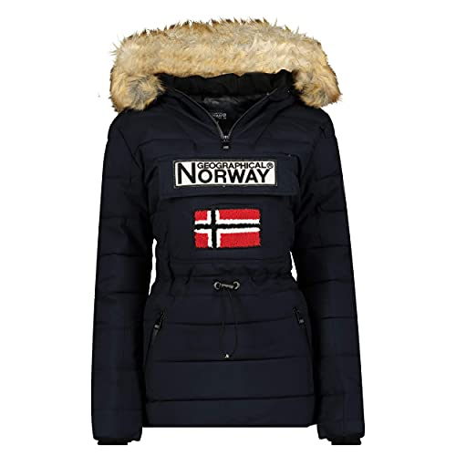 Geographical Norway Belinda Lady – Parka cálida para mujer – Abrigo impermeable con capucha de piel – Abrigo cortavientos – Chaqueta de forro cálido para mujer (Marino, M)