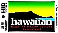 HID ハワイアン ステッカー デカール(ダイアモンドヘッド-ハワイ) ハワイアン雑貨 ハワイ 雑貨 お土産 (グリーン)