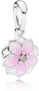 Magnolia Bloom Dangle Charm, Sterling Silver, Pale Cerise Enamel & Pink Cubic Zirconia, One Size