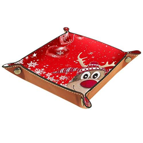 YATELI Caja de Almacenamiento pequeña, Bandeja de Valet para Hombre,Reno de Navidad Feliz Navidad Feliz Año Nuevo Copo de Nieve,Organizador de Cuero para Llaves de Caja de Monedas