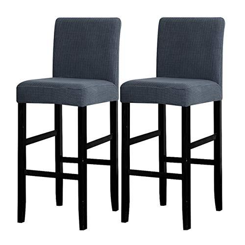LANSHENG Bar Stuhlhussen, Stretch Abnehmbarer waschbarer Stuhl Schonbezug für Short Swivel Dining Chair Rückenlehne Barhocker Stuhl (Grau,2 Stück)
