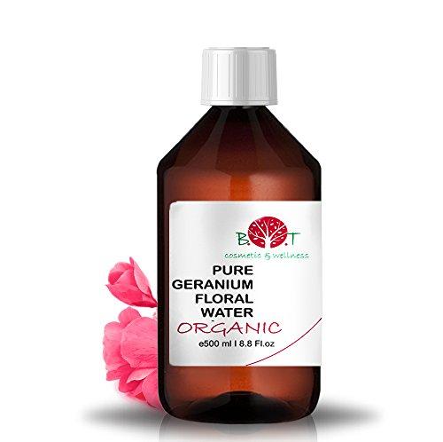 Eau Florale Organique de Rose Geranium Hydrolat 100% Pure 500 ml Lotion Peau Sensible, Lotion Bébé, Lotion Après Rasage, Lotion Après Épilation.