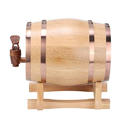 Barril de cerveza de madera, Barril de envejecimiento de roble, 1L Mini barril de vino portátil para el hogar Barril de whisky Barril de cerveza Barril de bilis(con aro dorado 1L)