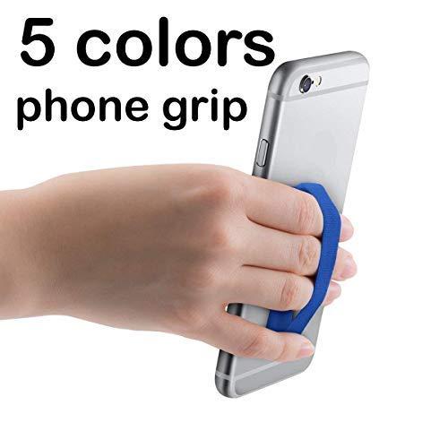 5×pezzi: Impugnatura Selfie Universale Supporto per Smartphone elastica per dita (1 Blu + 1 Viola + 1 Ciano + 1 Verde + 1 Giallo)