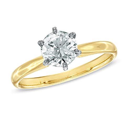 SILVERHUB Anillo de compromiso solitario de 1 quilate de diamantes de corte redondo en plata de ley 925 chapada en oro amarillo de 14 quilates, Metal, circonita cúbica,