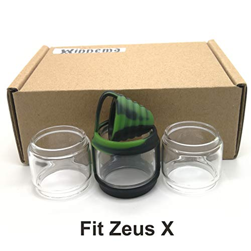 Winnema Silicone Rubber Bands Ring Anti Slip Protection Skin for 21.5mm Tall 30mm OD ZeX Bulb Glass Attached Drip Tip Cover (Black Green)