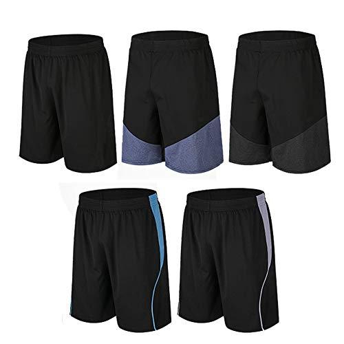 BUYJYA Pantalones cortos deportivos activos para hombre, paquete de 5, paquete de 3, para entrenamiento, baloncesto, fútbol, bádminton, ejercicio, correr, gimnasio, 5 piezas, Medium 🔥