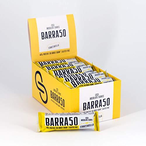 Barretta Proteica BARRA50 Absolute Series - Senza zuccheri aggiunti - 40% di Proteine - Senza Glutine - Spuntino proteico (Stracciatella) 24x50 g