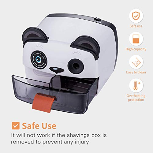 Electric Pencil Sharpener,Heavy Duty Helical Blade Sharpeners Plug in for Kids Artists Classroom Office School,Auto-Stop Feature for No.2 and Colored Pencils (Panda) Photo #3