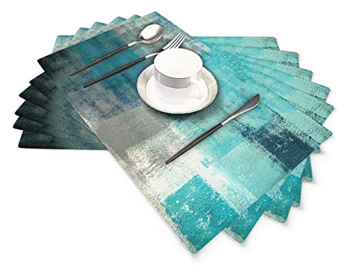 Modern Art Placemats Set of 6, Cafe Placemats Turquoise and Grey Artwork Dining Placemats for Home Kitchen Decorations 18 x 12 Inches, Turquoise Grey
