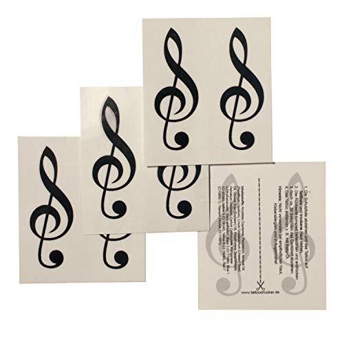 4 x Violin Schlüssel Tattoo - schwarzer Notenschlüssel als Tattoo (4)