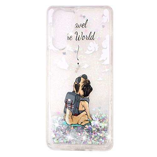 KSHOP Glitter Hoesje voor iPhone SE/5/5S, Bumper Hoes, Gelukkige hond, Huawei P30 Pro