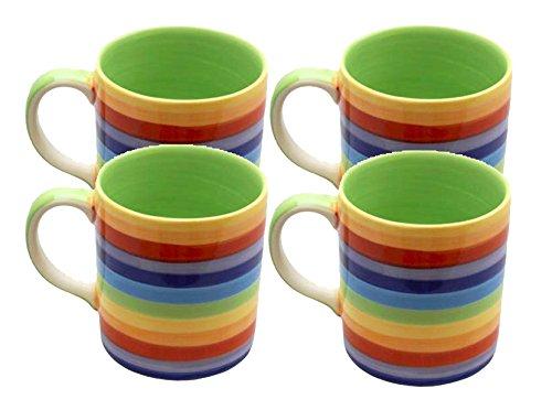 Nouveau Lot de 4mugs en céramique avec passants couleur arc-en-ciel/rayures (Cuisine)