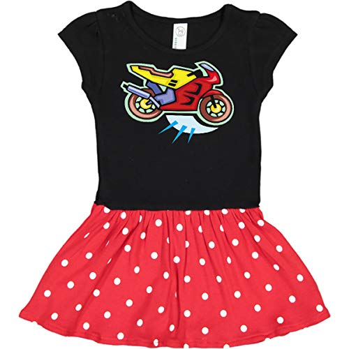 inktastic Crotch Rocket Infant Dress 24 Months Black & Red with Polka Dots