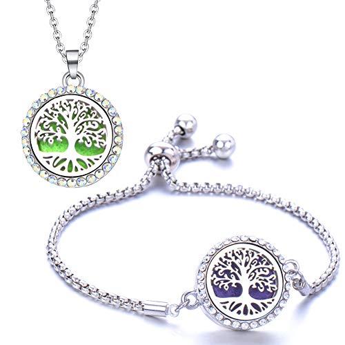 NALCY Anhänger Halskette, 2 Stück Aromatherapie Damen Armband, Aromatherapie Damen Halskette, Edelstahl Aromatherapie Ätherische Öle Diffusor Hohle Medaillon Armband (Lebensbaum)