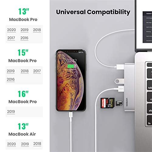 UGREEN USB C Hub for MacBook Aluminum Type C Hub Adapter with 3 USB 3.0 100W USB C Power Delivery Micro SD SD Card Reader Compatible for MacBook Pro M1 2020 2019 2018 2017 MacBook Air M1 2020 2019