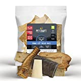 Pet Craft Supply Pure Natural Grass Fed Grain Free Water Buffalo Variety Pack of 11 Durable Tough Dog Chew for Aggressive Chewers and Puppies