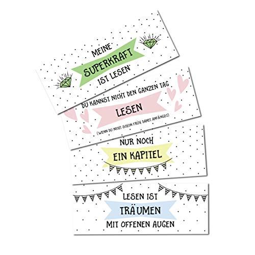Nastami Lesezeichen Set 4-teilig Aquarell, 4 Lesezeichen, Lesezeichen Watercolor (Sprüche II)