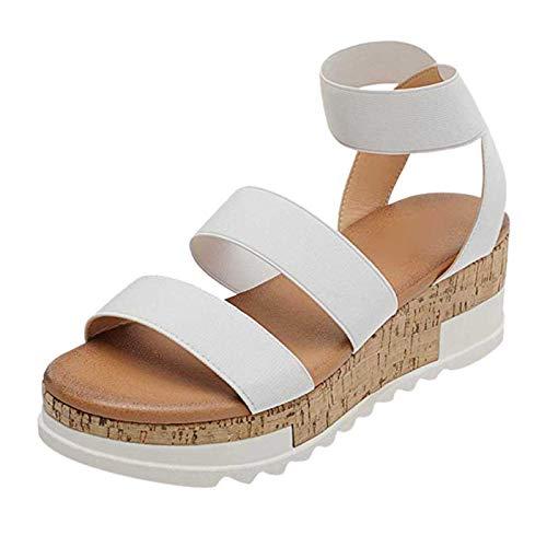 Beudylihy Sandalias de mujer con plataforma, cuña, para verano, sandalias con tacón y hebilla, cómodas, color, talla 39.5 EU