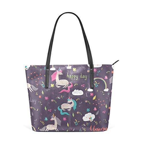 ISAOA Große Handtasche für Reisen, Schulter, Einkaufen, Strand, Einhorn, Happy Birthday Pueple Damen Handtasche