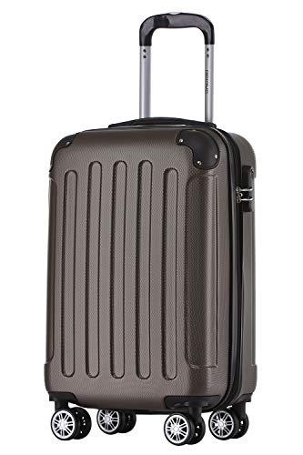 BEIBYE Hartschalen-Koffer Trolley Rollkoffer Reisekoffer Handgepäck 4 Rollen (M-L-XL-Set) (Coffee, M)