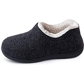 ULTRAIDEAS Women s Cozy Memory Foam Closed Back Slippers with Warm Fleece Lining Wool-Like Blend Cotton House Shoes with Anti-Slip Indoor Outdoor Rubber Sole (Black,size 9)