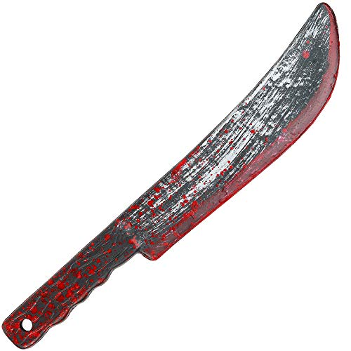 Skeleteen Bloody Butcher Knife Prop - Blood Stained Fake Costume Knives Props for Zombie Costumes