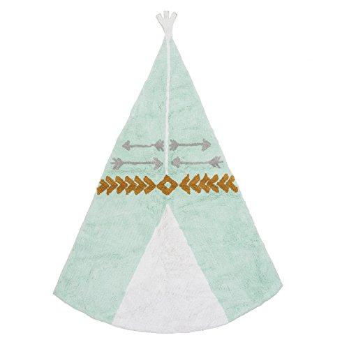Ideenreich 2402 Tapis 100 % Coton Lavable en Machine Turquoise 120 x 160 cm