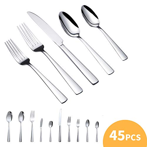 45-Pieces Flatware Set, Stainless Steel Tableware Dinnerware-Service for 8, Heat Resistant Cutlery, Not-Bend and Rust-Proof Guarantee