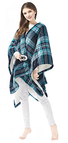 "Beautyrest Ultra Soft Sherpa Berber Fleece Electric Poncho Wrap Blanket Heated Throw with Auto Shutoff, 50"" W x 64"" L, Aqua Plaid"