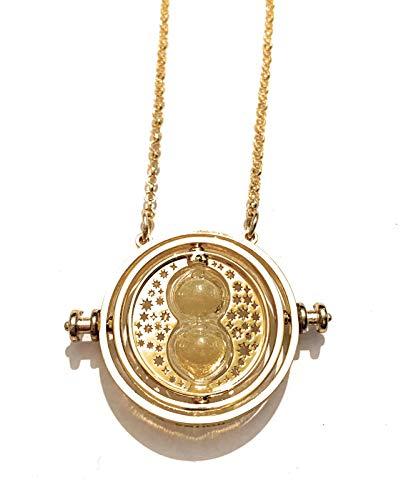 giulyscreations Hermione Granger - Collar de metal sin níquel con caja grabada de Hogwarts Griffindor, serpeverde, cosplay, Magia, Harry H, P, Time, Turner Pop