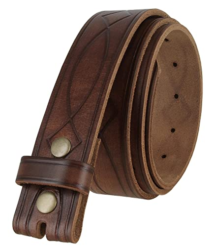 382000 Genuine One Piece Full Grain Leather Hand Tooled Engraved Belt Strap 1-1/2' Wide (Brown, 44)