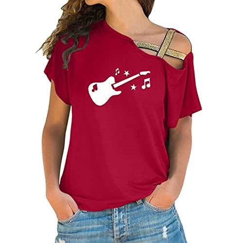 BIBOKAOKE Off Shoulder Tshirt Damen Kurzarm Oberteile T-Shirt Casual Sommer Tops Drucken Longshirt Frauen Teenager Mädchen T-Shirt Sweatshirt Bluse Tops Kurzarmshirt Tee Shirt