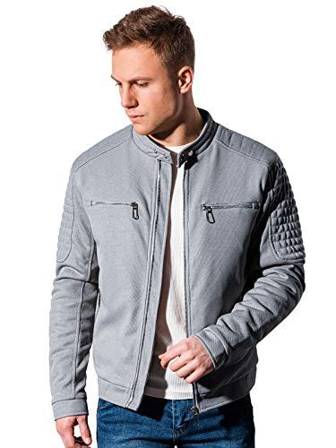 Ombre Chaqueta para hombre con aspecto de motorista con cremallera, forrada y acolchada, chaqueta de entretiempo deportiva para estaciones más frías. gris L