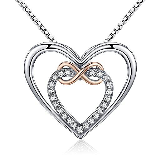 VAWAA Auténtica Plata de Ley 925 Elegante Infinito Amor Doble corazón Colgante Collares para Mujer Regalo de joyería Fina