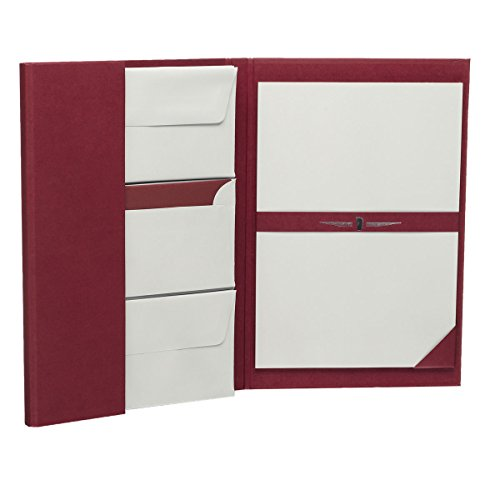 Rössler 1024831170 - Paper Royal - Briefpapiermappe DIN A4/DL, 25/25, bordeaux/eisgrau gerippt