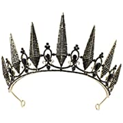 SWEETV Gothic Crown Pageant Tiara for Women, Black Queen Tiaras and Crowns, Costume Party Accessories for Wedding Halloween Prom
