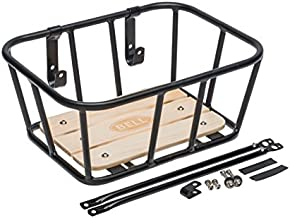 Bell Tote 900 Front Handlebar Metal Basket with Wood Base - black