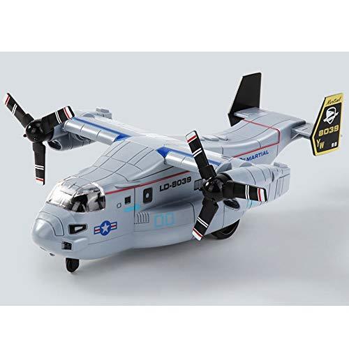 Yifuty Kämpfer Simulation Flugzeug Osprey Transportflugzeug Modell Ton und Licht Inertia Jungen-Spielzeug-Hubschrauber-Geschenk-Kasten Blau, Grau 35 * 21 * 9,5 cm (Color : B)