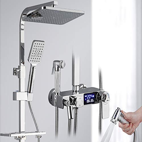 Sistema montado en la Pared de la Ducha Inteligente, Mantener una Temperatura Constante, Pantalla LCD Digital, Lujosa Ducha de Lluvia del Mezclador Kit