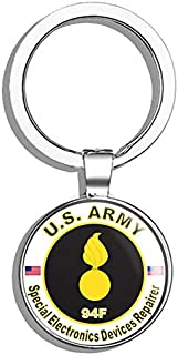 HJ Media U.S. Army MOS 94F Special Electronics Devices Repairer Metal Round Metal Key Chain Keychain Ring