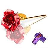 UNISOPH Rosa de Oro 24K, Rosa eterna Rosa Artificial Hecha a Mano con Exquisita Caja de Embalaje como Regalo de cumpleaños de Aniversario, Rojo